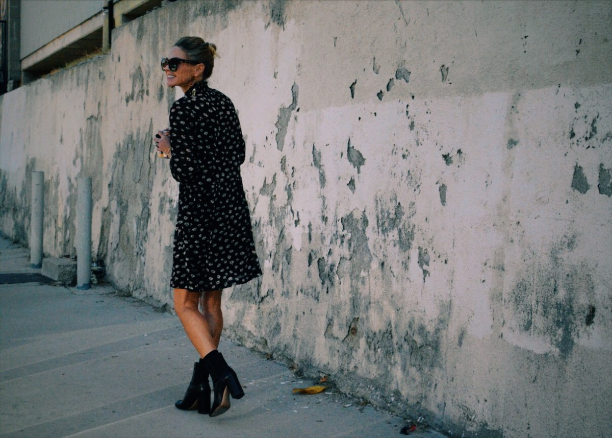 Pretty, Tough Girl: Ankle Boots Give Edge to A Demure Dress