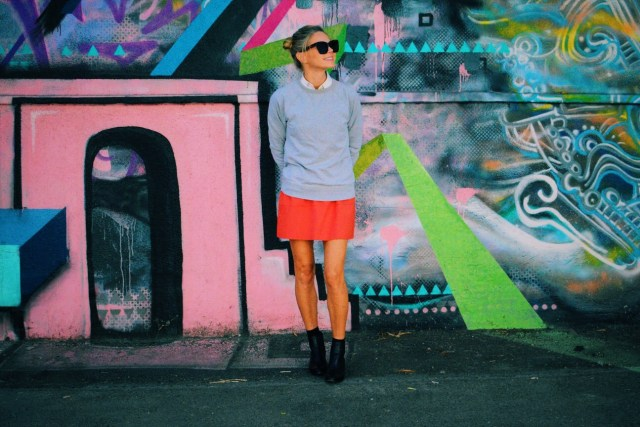 mini-skirt and ankle boots