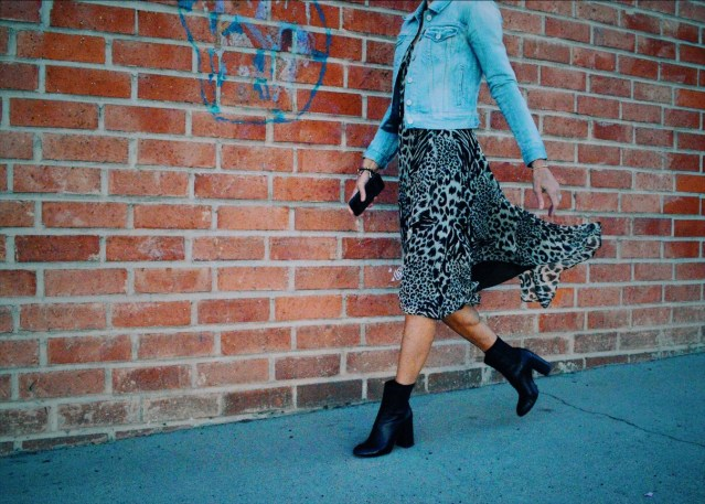 midi dress and ankle boots