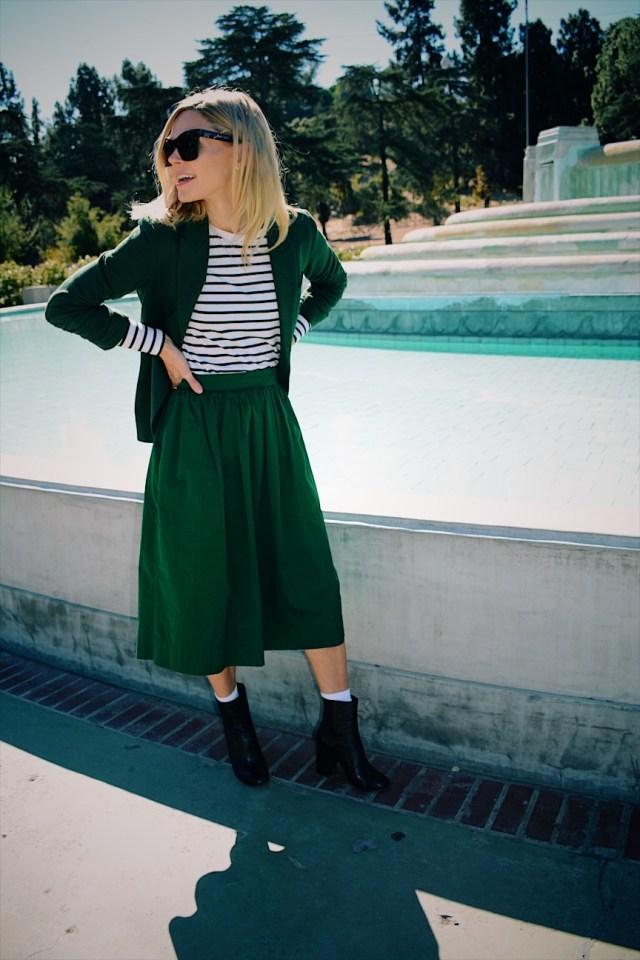 green midi-skirt