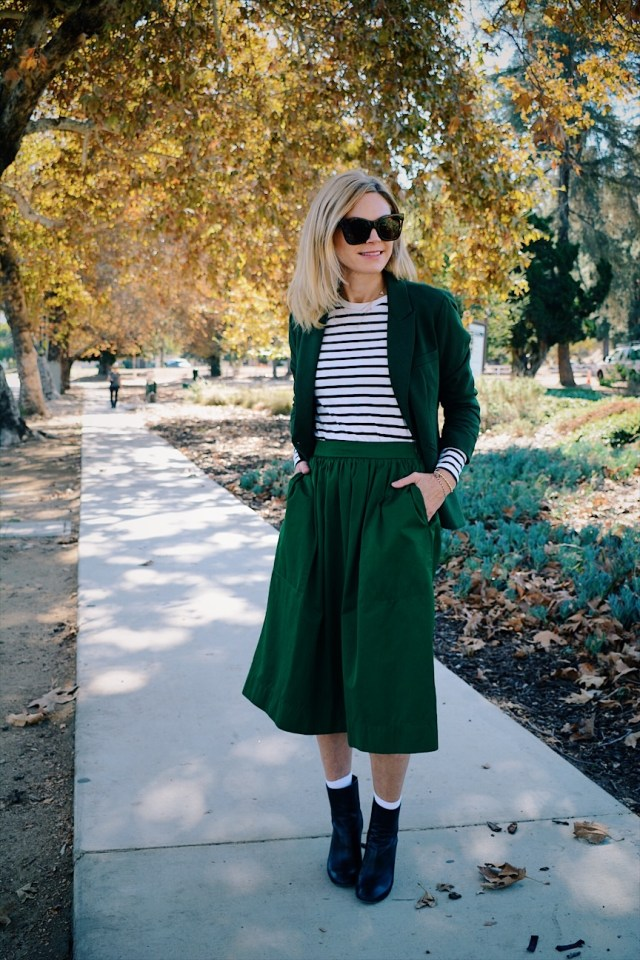 c11fc70ad5 What I'm wearing: Green full midi-skirt is a few years old from Zara, but  this is similar, black and white striped tee is old and from Nordstrom, ...
