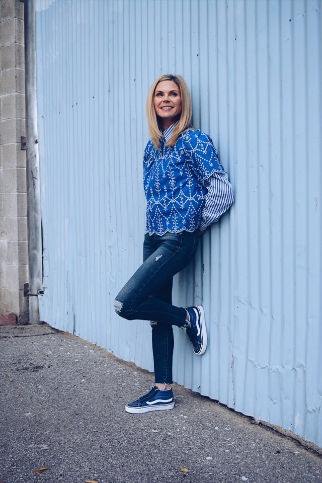Casual Spring Outfit + Blue and White Outfit + Jeans + Sneakers