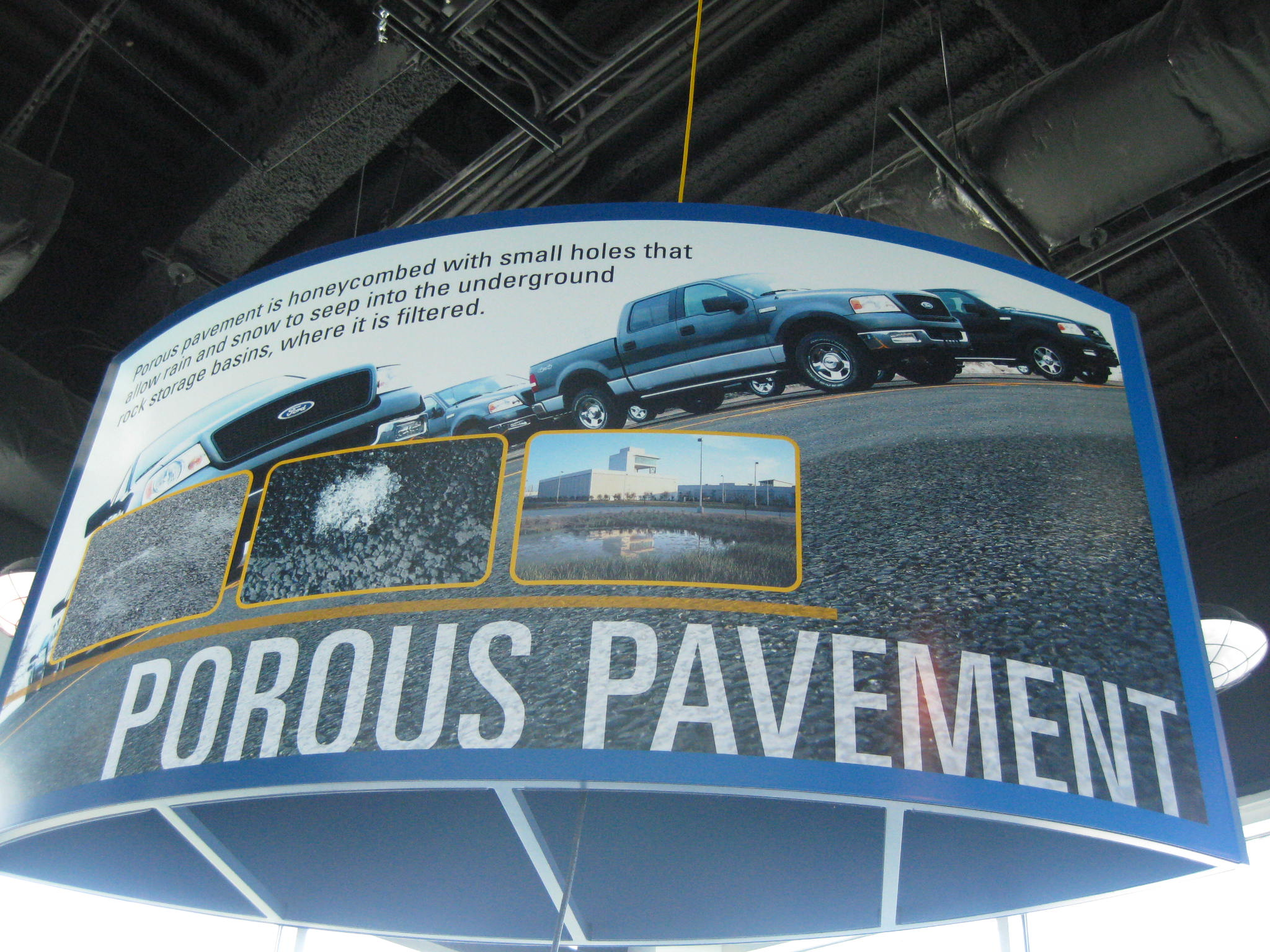 At the Ford Rogue Factory Observation Deck an exhibit demonstrates how the parking lots are environmentally friendly.