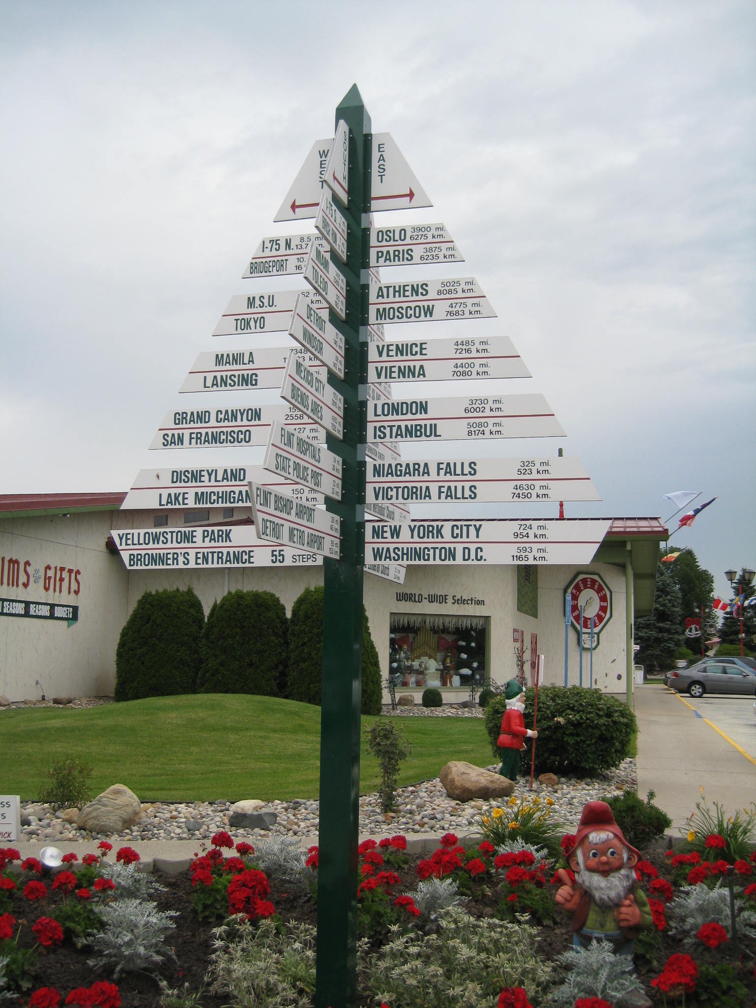 A large directional tree at the Bronner's Christmas Store, the world's largest Christmas store, in Frankenmuth, Michigan.