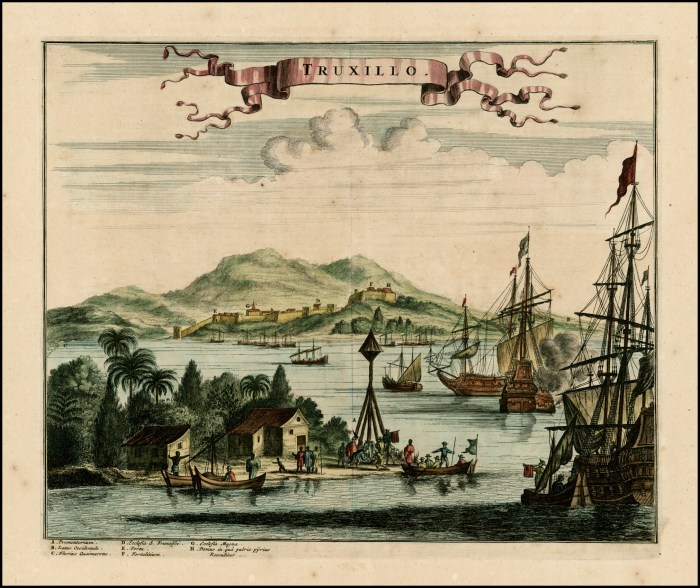 A print of the harbor at Truxillo, Honduras, in the 1670s, showing the castle in the distance.