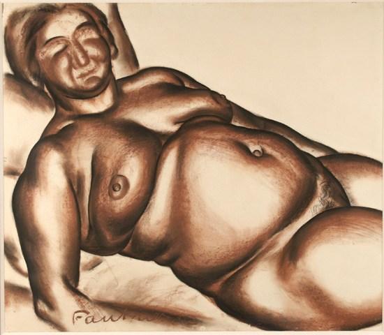 Jean Fautrier, (F1 )Femme nue allongée sur le dos