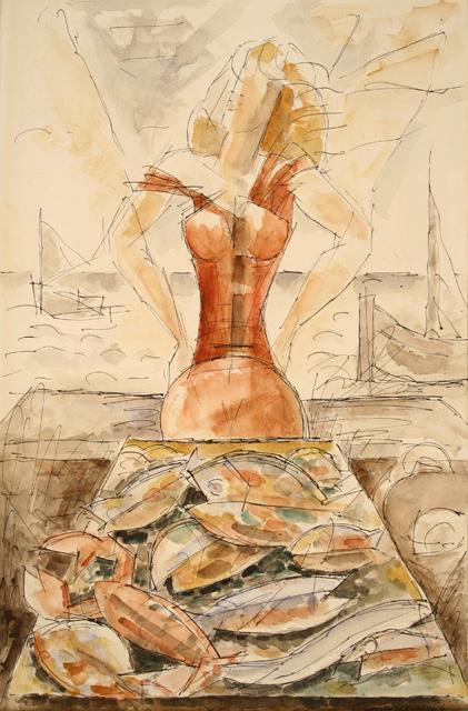 Watercolor by MarcelGromaire, La Marchande de poissons