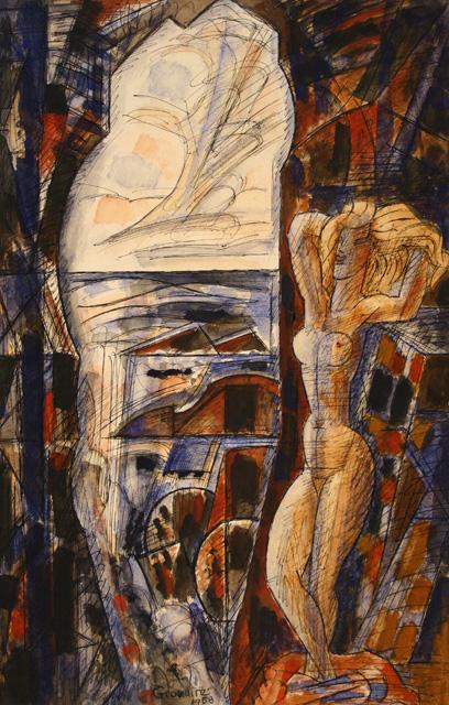 Watercolor by MarcelGromaire, La falaise creuse