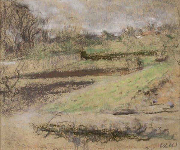 """Edouard VUILLARD, """"Paysage aux Clayes"""", pastel 20 x 25 cm"""