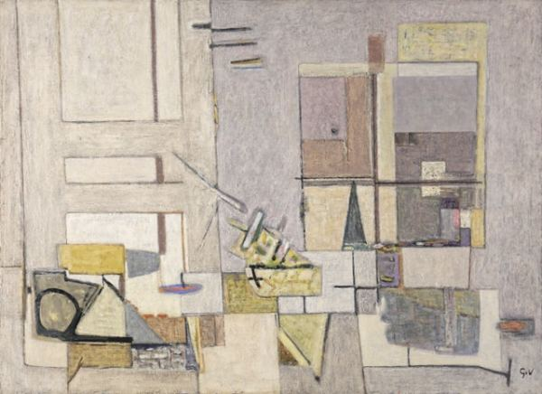 """Geer van Velde,""""Composition"""",Circa 1952, oil on canvas 73 x 100 cm - Reserved"""