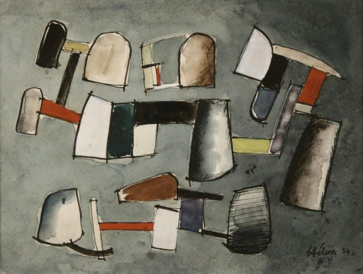 Jean Hélion Équilibre 1934 Watercolor 24 x 32 cm SOLD
