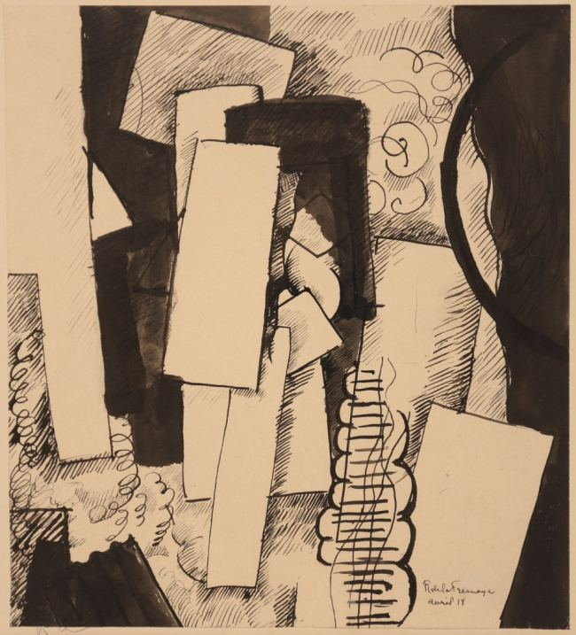 Roger de La Fresnaye, Composition table et cercle, 1918, Drawing, 21x19 cm