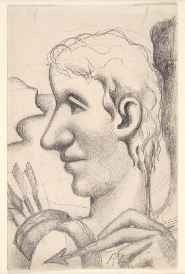 La Fresnaye, L'Homme à la flèche, dessin, V.1922, 14,5x9,5cm