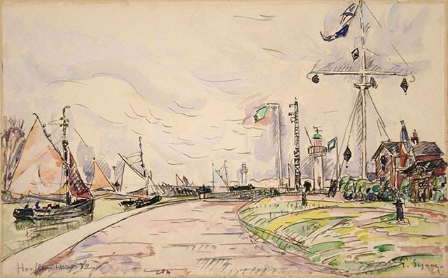 """Paul SIGNAC, """"Honfleur, la jetée"""", 1930, aquarelle 28,3 x 45,3 cm"""