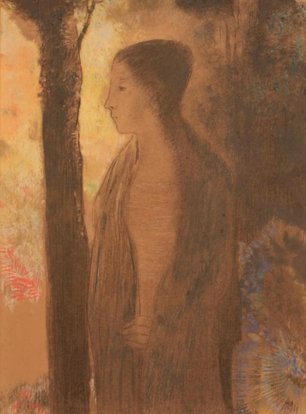 Odilon Redon, Figure devant un arbre, Circa 1894, Pastel, 50,7 x 37,5 cm