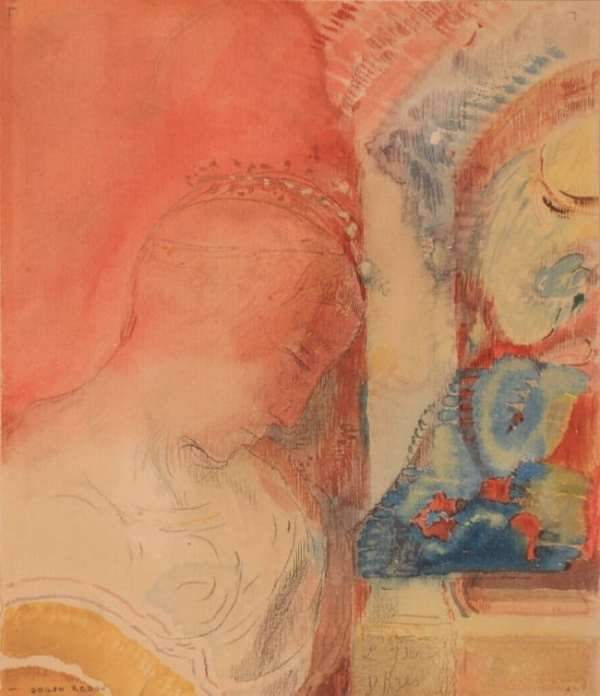 Odilon Redon, Tête couronnée, Aquarelle, 20,3 x 17,7 cm