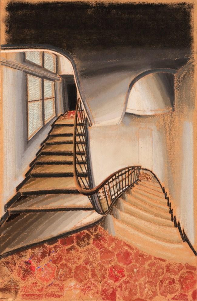 Sam Szafran, Escalier et intérieur, 1995, Pastel, 37,5 x 24,5 cm - VENDU
