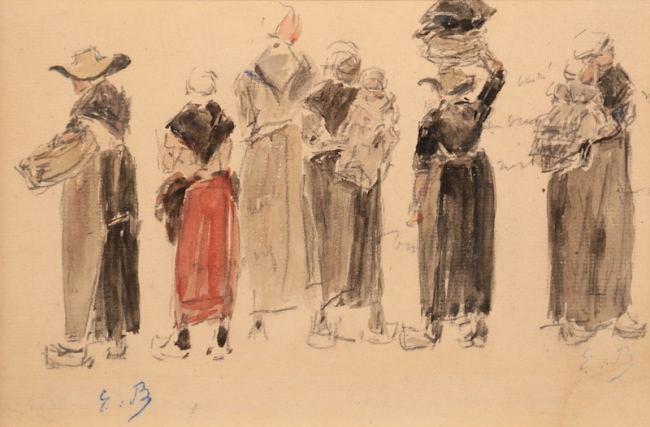 Boudin, Groupe de bretonnes, 1870-73, aquarelle 13,3 x 20cm