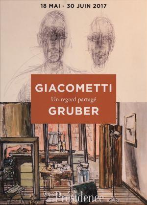 """Affiche de l'exposition """"Giacometti Gruber, un regard partagé"""" à la Galerie de la Présidence en 2017"""