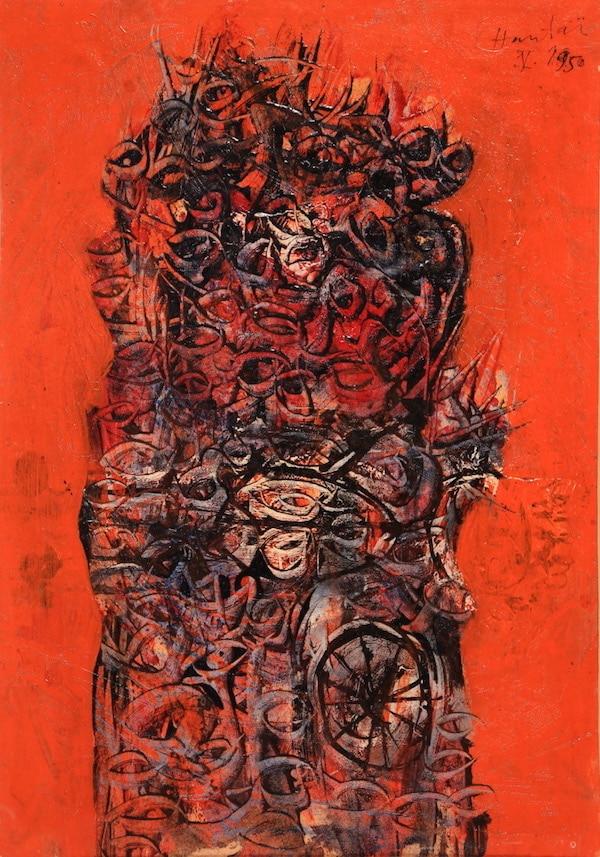 Simon Hantaï Sans titre 1950 Huile sur carton 30 x 29 cm
