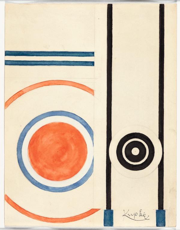 Frantisek Kupka, Composition abstraite, C.1930, watercolor, 27 x 20,5 cm