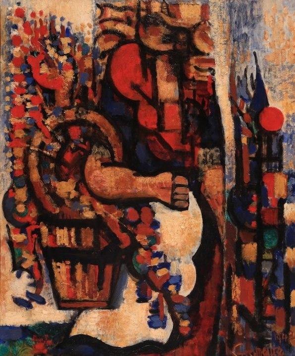 Marcel Gromaire Femme au panier de fleurs 1942 Oil on paper mounted on canvas 46 x 38 cm