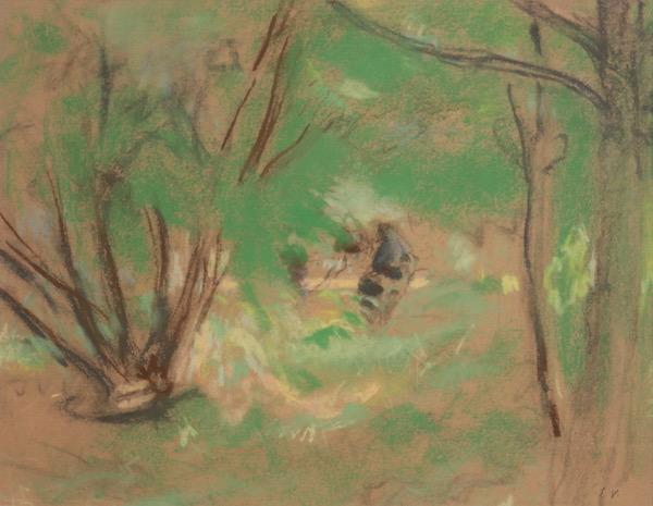 Edouard VUILLARD, Effet de soleil dans un sous-bois printanier, Circa 1932-38, Pastel, 25 x 32 cm