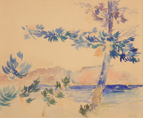 Henri-Edmond CROSS, Arbres en bord de mer, Watercolor, 17 x 21 cm