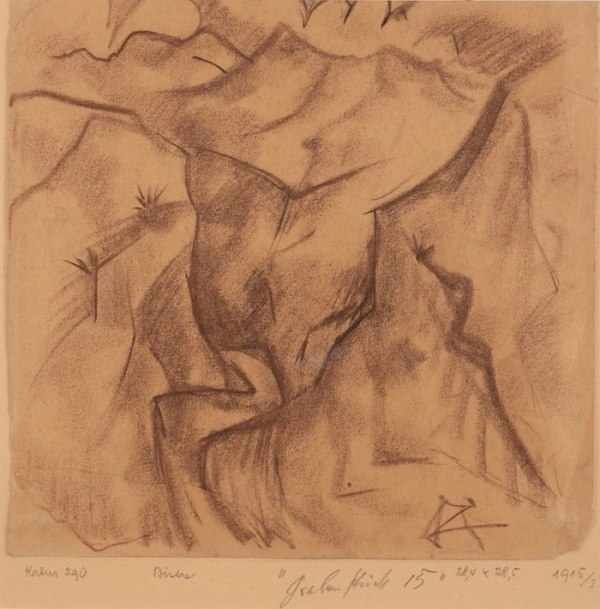 Drawing by Otto Dix available at Galerie de la Présidence, Grabenstück, Bisterzeichnung, 1915, Charcoal, 28,4 x 28,5 cm, Price upon request
