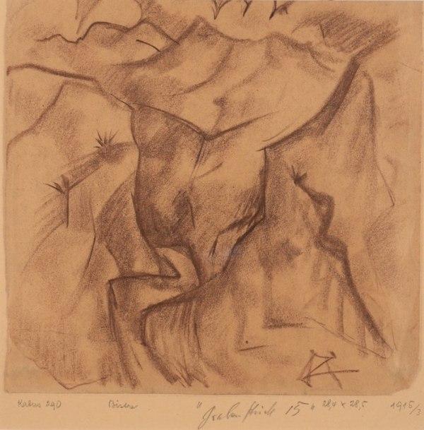Dessin d'Otto Dix disponible à la Galerie de la Présidence, Grabenstück, Bisterzeichnung, 1915, Fusain, 28,4 x 28,5 cm, Prix sur demande