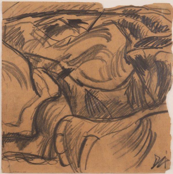 Dessin d'Otto Dix disponible à la Galerie de la Présidence, Grabensystem, Bisterzeichnung, 1915, Fusain, 28,5 x 28,5 cm, Prix sur demande