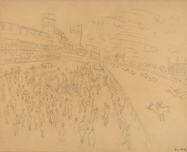 Drawing by Raoul Dufy available at Galerie de la Présidence, La Course à Ascot, Circa 1932, 51,5 x 65 cm, Price upon request