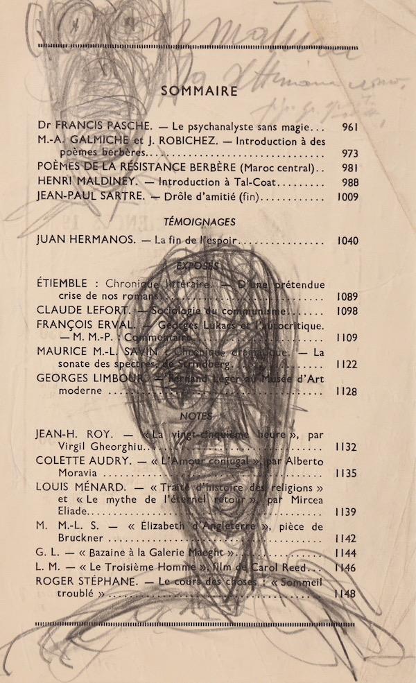 Alberto Giacometti, Tête et figure, Circa 1949, Dessin, 22,7 x 14,2 cm