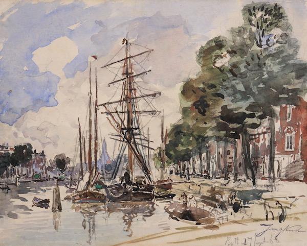 Johan-Barthold Jongkind, Le port de Rotterdam, 1868, Aquarelle, 23,5 x 29,5 cm, Œuvre à vendre
