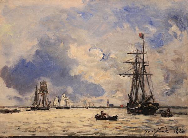 Johan-Barthold Jongkind, Sur l'Escaut, 1868, Huile sur toile, 24 x 32,5 cm, Œuvre à vendre