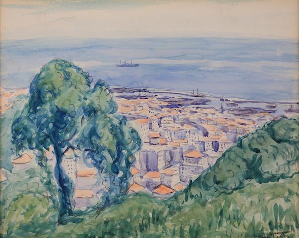 Albert Marquet Le port d'Alger vu des coteaux 1932 Aquarelle 22 x 38 cm