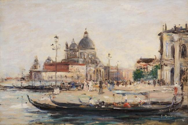 Eugène Boudin, Venise, Le Mole à l'entrée du grand canal et la Salute, 1895