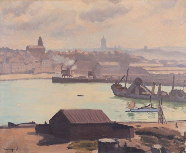 Painting by Albert MARQUET : Boulogne-sur-Mer, Le port, temps couvert