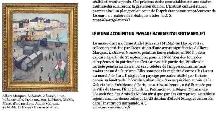 The Art Newspaper Daily : Le MuMa acquiert un paysage havrais d'Albert Marquet, 13 septembre 2019