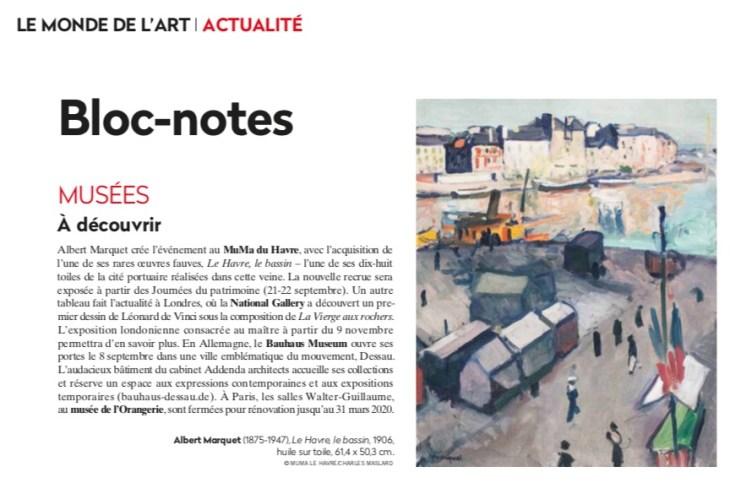 La Gazette Drouot, Albert Marquet crée l'événement au MuMa du Havre, September 6,2019