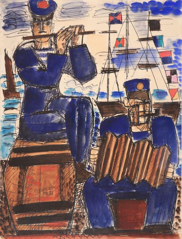 Marcel Gromaire, Marins musiciens sur le quai, 1931, Watercolor, 43 x 32 cm