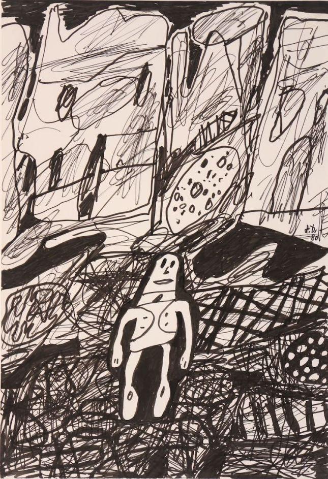 Jean Dubuffet, Paysage avec un personnage, 1980, Ink and collages, 51 x 35 cm