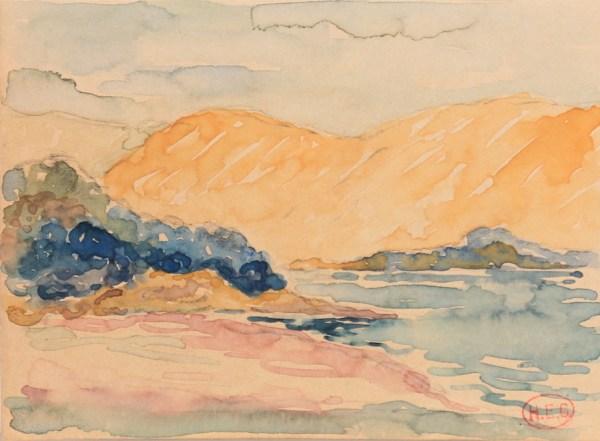 Henri-Edmond Cross, Plage et colline de Saint-Clair, Aquarelle, 11,3 x 15,3 cm