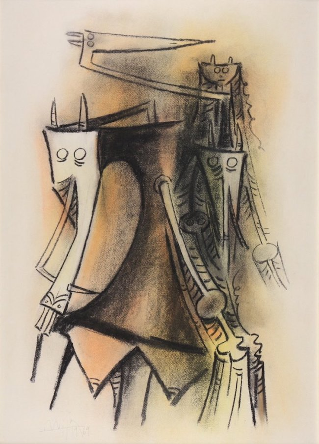 Wifredo Lam, Figures, 1969, Pastel, 70 x 49,5 cm