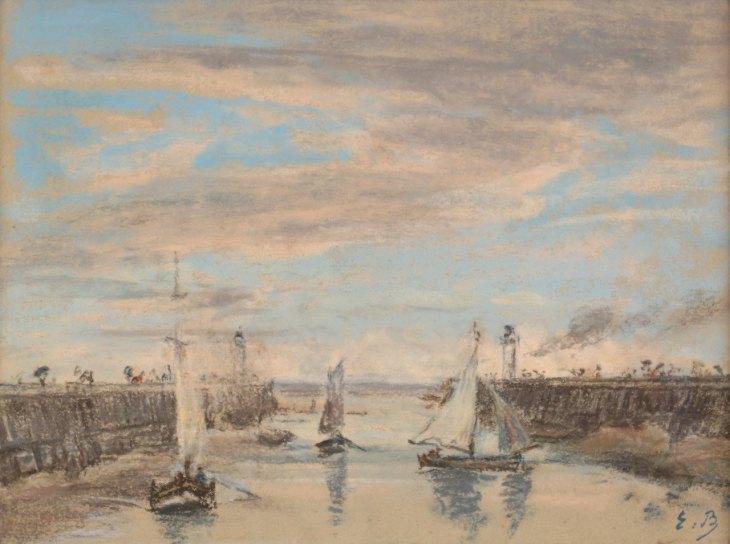 Eugène Boudin, Les jetées à Trouville, C.1860-65, Pastel