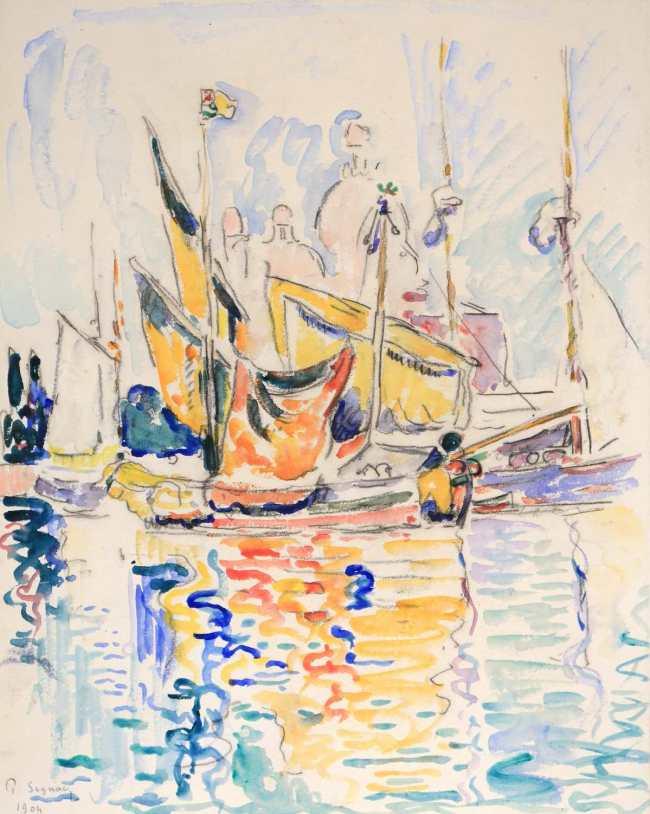 Paul Signac: Venise, les voiles devant la Salute, 1904, watercolor on paper