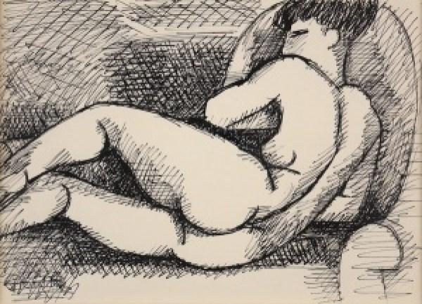 Marcel GROMAIRE, Nu allongé au fauteuil, circa 1930, ink