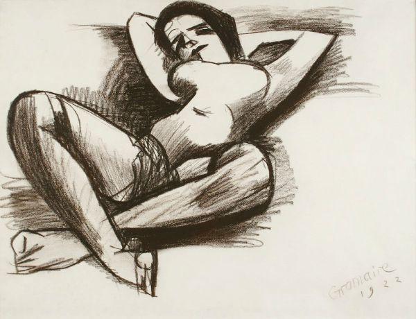 Marcel GROMAIRE, Nu aux jambes croisées, grease pencil, 1922
