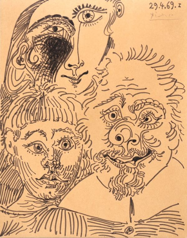 Pabo Picasso, Trois têtes, 1969, drawing