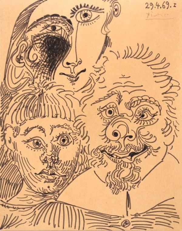 Pabo Picasso, Trois têtes, 1969, dessin